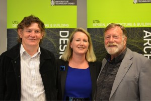From the left: Jack Thompson Foundation CEO John Mofflin, Postgraduate Project Management Course Director Chivonne Algeo and Jack Thompson. Picture by Terry Clinton